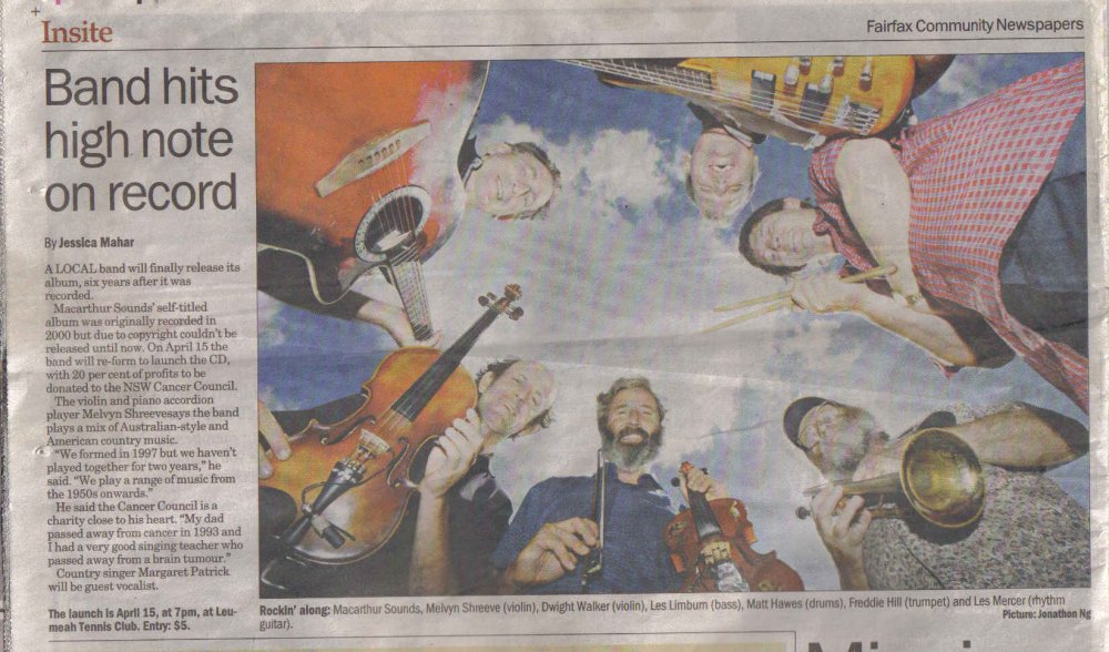 Band hits high note on record - Macarthur Advertiser 29 March 2006